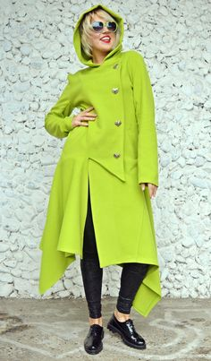 ON SALE 25% OFF Light Green Asymmetrical Coat / by Teyxo on Etsy