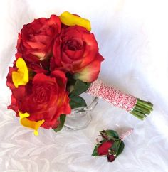 Red rose bridal bouquet real touch yellow calla lily and red rose wedding bouquet shabby chic bouquet set This Bouquet and boutonniere set would be perfect for a shabby chic or a traditional wedding.