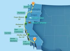 Planning a Drive From Seattle to Los Angeles by buzzle: Check out the distances, driving times and must see spots. #Roadtrip #Seattle #Los_Angeles