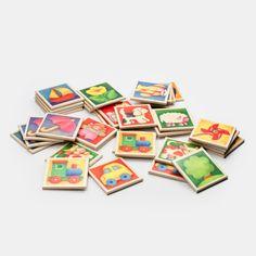 Memospiel aus Holz mit schlichten bunten, kindgerechten Motiven, 36 Bildtäfelchen    Sehr schönes, schlichtes und robustes Memo-Spiel aus Holz. Für Kleinkinder von etwa ein bis drei Jahren empfehlen sich die bunten Plättchen mit den schönen Motiven zum gemeinsamen Ansehen mit den Eltern. Statt eines Bilderbuches können so Tiere und Gegenstände sowie Farben spielerisch erlernt werden. Aus eigener Erfahrung wissen wir, dass ganz simple und spontan erfundene Spiele wie das Hin- und Hertauschen…