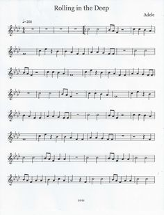 Flute & Tenor Sax Sheet Music :): Rolling in the Deep (Flute)