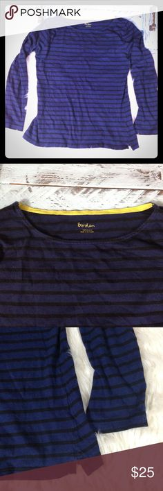 Boden Sz 6 Navy Black Striped Shirt 3/4 Sleeve Top Boden women's size 6 striped shirt.  100% cotton made in Sri Lanka. Great used condition no pilling.  Very cute! Boden Tops Tees - Long Sleeve