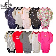 Retail 5pcs/pack 0-2yrs long-Sleeved Baby Infant cartoon bodysuits for boys girls jumpsuits Clothing 2014 new free shipping