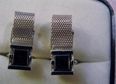 Vintage Estate Signed SWANK Cufflinks Hematite & Silverplate Metal Mesh #SWANK