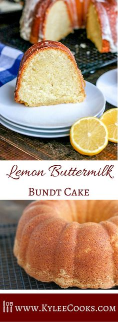 A Beautiful Looking And Spectacular Tasting Lemon Buttermilk Bundt Cake That Boasts Bright, Fresh And Zesty Lemon Flavor With A Tangy Glaze. Via Kyleecooks Easy Desserts, Delicious Desserts, Dessert Recipes, Lemon Desserts, Bunt Cakes, Cupcake Cakes, Cupcakes, Lemon Recipes, Baking Recipes