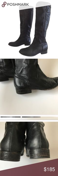 Frye Cindy Slouch Black Boots Beautiful Frye leather black 'Cindy Slouch' boots. In great preloved condition, there are some scuffs on the heels and toe area and also some stitching is loose on the back (shown in last picture)  all damage can be seen in the pictures. Frye Shoes Combat & Moto Boots