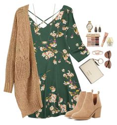 """Chunky cardigan, floral flared dress & ankle boots"" by steffiestaffie ❤ liked on Polyvore featuring Qupid, Kendra Scott, Too Faced Cosmetics, FOSSIL, Stila and Witchery"