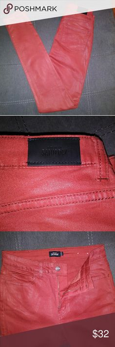 """Kate Spade Saturday High Waisted Coated Jeans Beautiful coated burnt orange/cinnamon colored jeans. High waisted, skinny at the bottom. Perfect color for a night out!! Some stains by the back of the leg (shown on pictures) But once on, hardly noticeable! Waist approximately 13"""", Length approximately 42.5"""",  Inseam approximately 31"""" 💕 kate spade Jeans Skinny"""