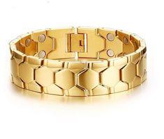 85G Heavy Gold Stainless Steel Men Chain Bracelet Energy Magnetic Jewelry 8.26''