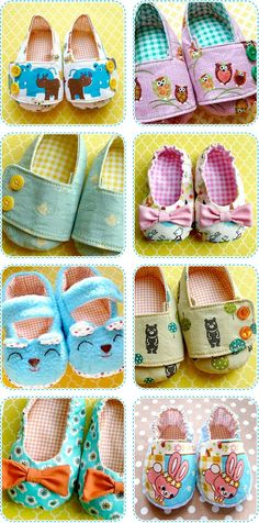 learn to make baby shoes! Crocheted or knitted MODERN baby shoes sell well, so why not fabric ones! Sell them at about 7 a pair. Ok for small pieces of fabric? Sewing For Kids, Baby Sewing, Sewing Crafts, Sewing Projects, Sewing Diy, Shoe Pattern, Baby Shoes Pattern, Creation Couture, Baby Kind