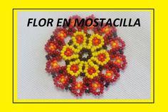 FLOR AMARILLA EN MOSTACILLA Seed Bead Flowers, Beaded Flowers, Seed Beads, Peyote Patterns, Beading Patterns, Beaded Jewelry Patterns, Earring Tutorial, Native American Beading, Beading Tutorials