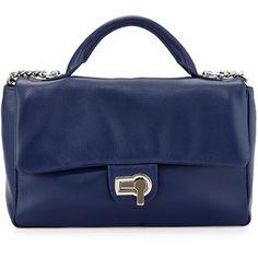 Charles Jourdan Vogue Flap-Top Leather Shoulder Bag ($96) ❤ liked on Polyvore featuring bags, handbags, shoulder bags, indigo, blue purse, blue leather handbag, genuine leather handbags, chain purse e leather handbags