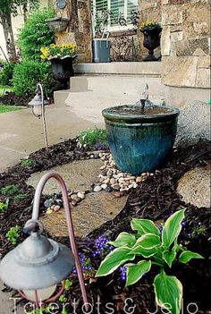 Incorporating fountain rocks into the bed
