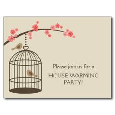 Whimsical and cute - Spring Bird Cage Postcards / house warming party invite / invitation