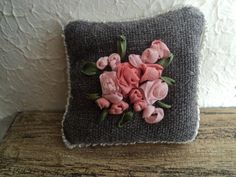 Dollhouse  Miniature  Embroidered Pillow no8 by AnotherCosyShop