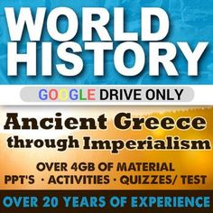 World History - Ancient Greece - Ancient Rome - Enlightenment - French Revolution - Industrial Revolution - Imperialism - GOOGLE DRIVE AND THUMB