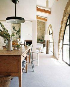 Modern stone home.