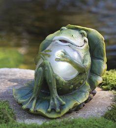 Reclining #Solar #Frog Garden #Statue
