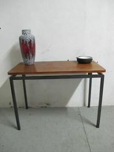Vintage Pastoe jaren 60 teakhouten/metalen bijzet tafeltje