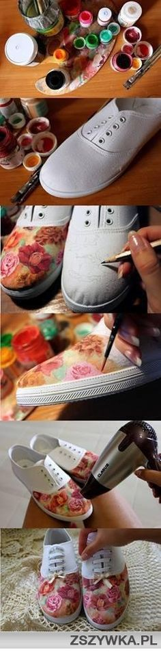 DIY painted shoes, turn your plain shoes into gorgeous art works Shoe Crafts, Fun Crafts, Diy And Crafts, Arts And Crafts, Craft Projects, Sewing Projects, Do It Yourself Fashion, Ideias Diy, Diy Painting