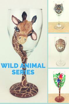 Check out our wild animal wine glasses. Great for your parties or for your home bar ;-) Giraffes, parrots, Lions and Tigers Diy Wine Glasses, Decorated Wine Glasses, Hand Painted Wine Glasses, Giraffe Painting, Giraffe Art, Wine Glass Crafts, Wine Bottle Crafts, Giraffe Pictures, Wine Glass Designs
