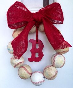 Boston Red Sox baseball wreath. $48.00 can be customized with any team! Perfect gift for baseball fans!