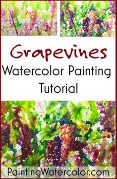 Painting Grape Vines in Watercolor Watercolor Painting tutorial