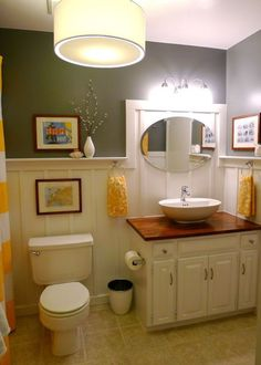 diy bathroom - check out the detail behind the mirror
