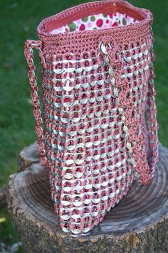 Upcycled Mauve Crochet Pop Tab Purse by Flor7 on Etsy