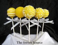 Yellow Wedding Cake Pops I love cake pops Wedding Cake Pops, Wedding Cakes, Cakepops, Yellow Cake Pops, Batman Wedding, Wedding Favours, Wedding Ideas, Love Cake, Cute Cakes