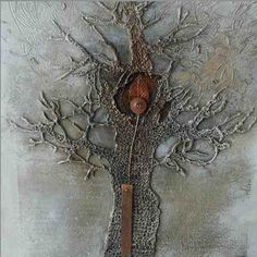knitted tree art by Elfi (Switzerland) would be cool for a family tree wall, too. Art Fibres Textiles, Textile Fiber Art, Textile Artists, Mix Media, Mixed Media Collage, Collage Art, Collages, Creative Textiles, Family Tree Wall