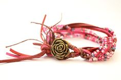 Red and Pink Suede Leather Wrap Multi-strand by OxyFineCrafts