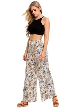 b480bc45c676b Womens High Waist Wide Leg Printed Palazzo Pants ** More info could be  found at