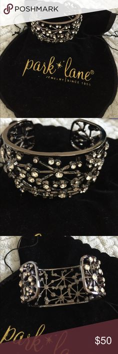 "Park Lane Jewelry Hematite & Crystal Cuff Bracelet Intricate patterned cuff bracelet is a black hematite metal slip on with various sized crystals. Perfect condition. Measures 2"" wide. Comes in Park Lane pouch. Park Lane Jewelry Bracelets"