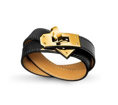 Kelly Double Tour Double-loop bracelet in Black Chamonix calfskin, gold-plated clasp