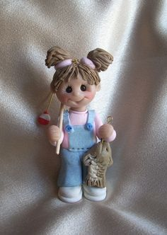 *POLYMER CLAY ~ fishing fisher girl fish personalized Christmas ornament polymer clay gift sculpture children toddler