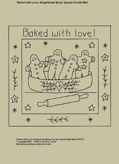 "Primitive Stitchery E-Pattern Candle Mat, ""Gingerbread Boys Baked with Love."""