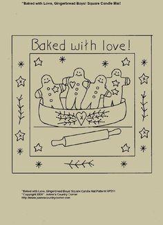 "Free+Primitive+Stitchery+Patterns | Primitive Stitchery E-Pattern Candle Mat, ""Gingerbread Boys Baked with ..."