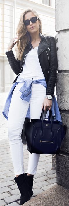 Kenza Zouiten is wearing a black leather jacket from Chiquelle, white T-shirt from Bergano Greys, bag from Céline, blue shirt from Ginatricot and shoes from Jennie-Ellen