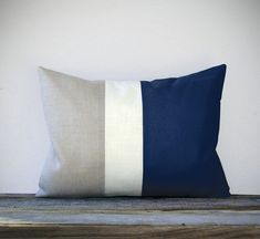 Navy Blue Color Block Decorative Pillow with Cream and Natural Linen Stripes by JillianReneDecor Summer Home Decor Striped Nautical