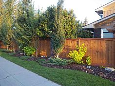 A nicely bordered garden along a sidewalk adds curb appeal and softens the look of this fence. Adding mulch can help to keep the weeds down and lower the maintenance. Mulch also helps to retain moisture in the soil.