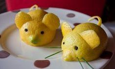 sculpture sur fruit - deux souris en citron