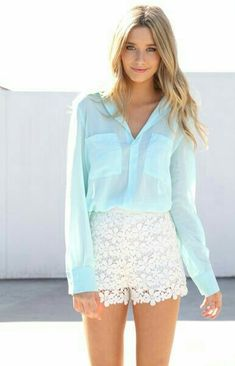Blue blouse and White lace short i love it ❤