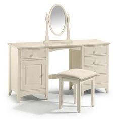Cameo Shaker Style Stone White Twin Pedestal Dressing Table, Stool and Mirror Dressing Table Dunelm, 5 Drawer Dressing Table, Furniture Dressing Table, White Dressing Tables, Bedroom Dressing Table, Dressing Table With Stool, Dressing Room, White Painted Furniture, Vintage Furniture