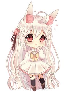chibi commission for melonbunni! ah this character is so cute i had fun drawing her ~ ♥ thank you for the commission! done in sai / ps please do not use / . Chibi Kawaii, Cute Anime Chibi, Kawaii Art, Kawaii Anime Girl, Chibi Bunny, Fan Art Anime, Anime Art Girl, Anime Girls, Anime Drawings Sketches