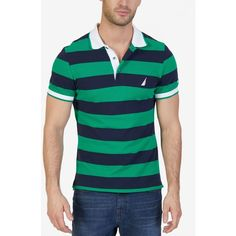Nautica Men's Classic-Fit Heritage Stripe Polo (€63) ❤ liked on Polyvore featuring men's fashion, men's clothing, men's shirts, men's polos, rolling green, mens green polo shirt, mens striped polo shirts, mens classic fit shirts, mens pique polo shirts and mens green striped shirt