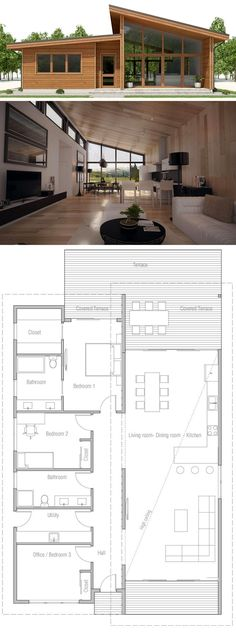 Small House Plan, Floor plan with three bedrooms, modern arc.- Small House Plan, Floor plan with three bedrooms, modern architecture - Layouts Casa, House Layouts, Small House Layout, Small Floor Plans, Small House Plans, Modern House Floor Plans, Modern Home Plans, Simple Home Plans, Open Plan House