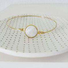 Personalized pearl bangle delicate modern by LemonSweetJewelry