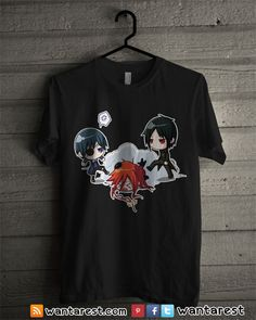 Black butler t shirt Chill Outfits, Trendy Outfits, Sweater Shirt, Shirt Jacket, Black Butler Characters, Black Buttler, Black Butler Anime, Anime Merchandise, Mikasa Anime
