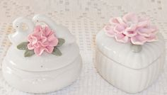 Vintage Trinket Boxes One with Swans and by BeautyEverlasting, $13.95
